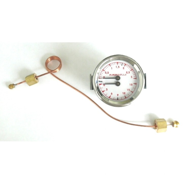 MANOMETER DOPPELSKALA MIT LEITUNG L280R DOUBLE SCALE PRESSURE GAUGE WITH TUBE